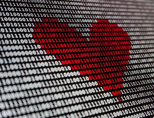 coração feito com dados de programação de computador
